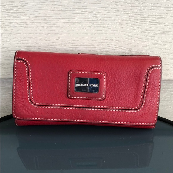 MICHAEL Michael Kors Handbags - Michael Kors red leather wallet silver bag purse